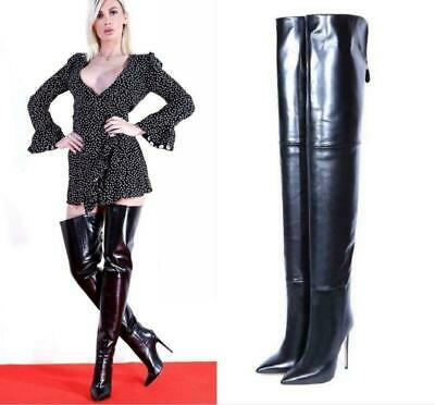 Womens Occidend Slim Heel Shoes Round Toe Pull On Over Knee High Boots Ths01