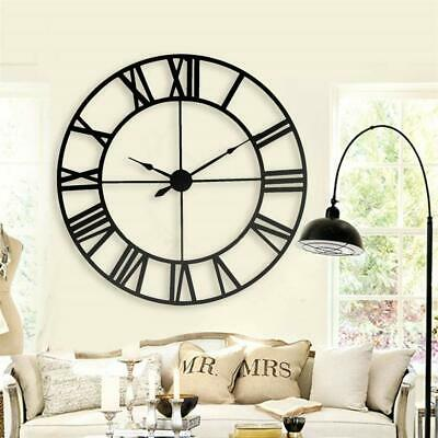 Antique Round Black Metal Skeleton Roman Numeral Indoor Home Wall Clock 40 cm