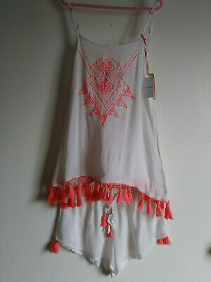 Love To Lounge Women's Embroidered Tank&Short Shorts/tassels SIze XS NWT