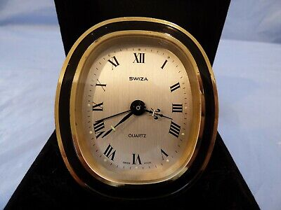 Vintage Swiza Wind Up Travel Alarm Clock In Suede Case Swiss Made For Repair