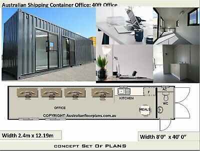 Great Office Design - 40 Foot Shipping Container Transportable Office Plans