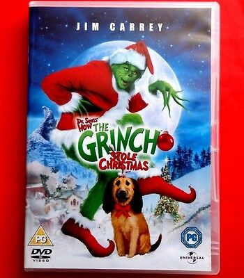 THE GRINCH  - Dr Seuss  - HOW THE GRINCH STOLE CHRISTMAS  DVD  JIM CARREY  EX/NM