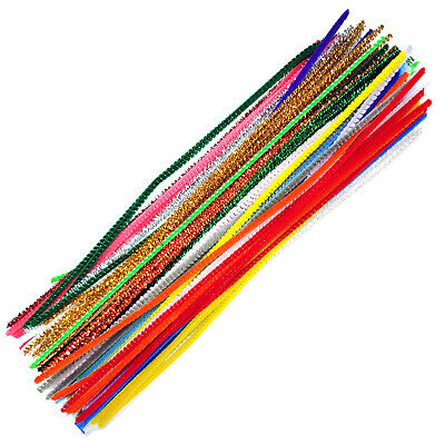 Craft Pipe Cleaners x50 -  30cm Mixed Colours - At Least 10 different Colours