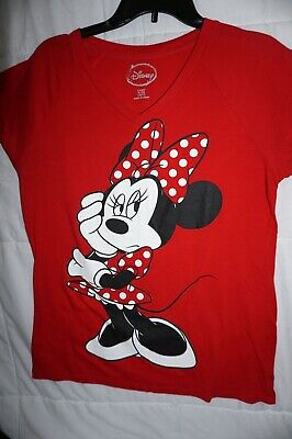 Disney Minnie mouse top Juniors XL 15 17 bow shirt red t-shirt