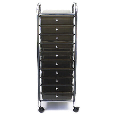 "Storage Studios Home Center Rolling Cart W/10 Drawers-15.25""X37.5""X13"" Smoke"