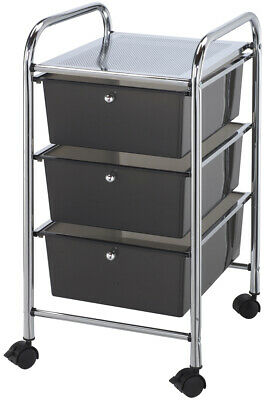 "Storage Cart W/3 Drawers-13""X26""X45.5"" Smoke"