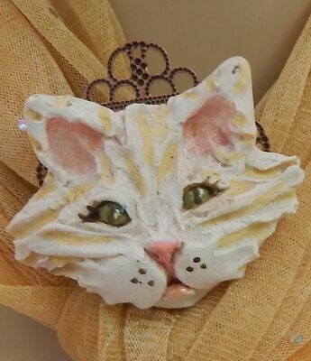 Pin Cat Brooch Jewelry Handmade NEW Hand Sculpted NEW Clay Lapel Feline White