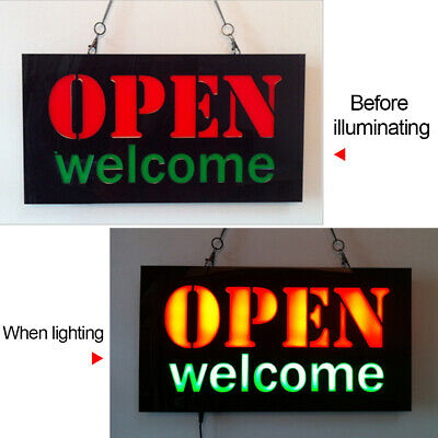 Open Welcome Neon Lamp LED Illuminate Bar Resin Advertising Light Decorative
