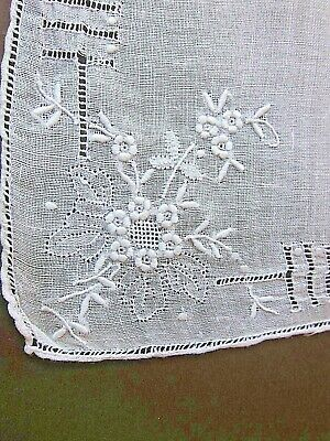 Vintage White on White Linen Appenzell Floral Wedding Handkerchief ~Drawnwork