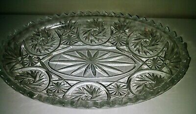 "Vintage ABP Cut Glass Relish Dish Saw Tooth Edge 9"" Long x 6"" Across"