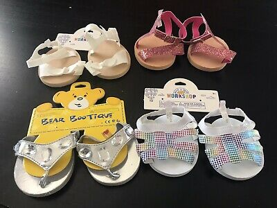 Brand New - 4 Pairs Sandals Shoes - Build A Bear Genuine Clothes