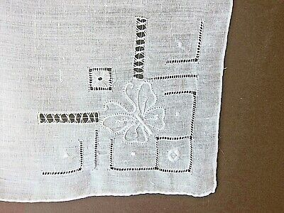 Vintage French Estate White Linen Drawnwork & Embroidery butterfly Handkerchief