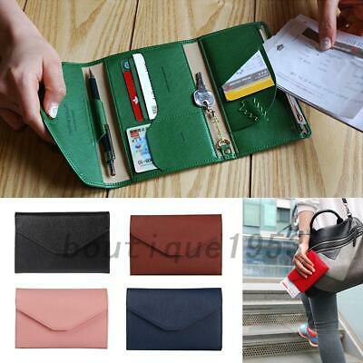 PU Leather Passport Travel Document Ticket Holder Organiser Card Coins Wallet AU