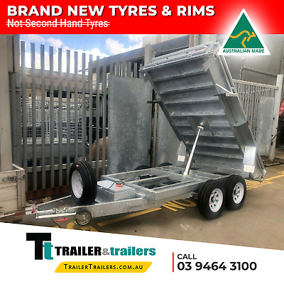 9x5 TANDEM AXLE AUSSIE GALVANISED H/DUTY HYDRAULIC TIPPER TRAILER + NEW TYRES
