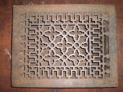 """Antique Ornate Cast Iron Heating Floor Grate Fits 9"""" x 12"""" Opening"""