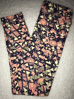LuLaRoe Kids Leggings S/M Small Medium Purple / Pink Flowers Yellow Triangles