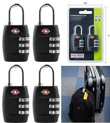 4/2X TSA Approved Luggage Lock Travel 3 Digit Combination Suitcase Padlock Alert