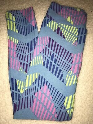 LuLaRoe Kids Leggings S/M Small Medium Blue / Pink Purple Yellow Design