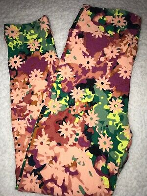 LuLaRoe Kids Leggings S/M Small Medium Black Green Yellow Pink Flowers