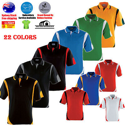 Mens Polo Shirt 100% Polyester Cool Dry Breathable Contrast Sports Polo Short