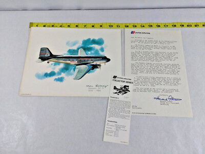 Vtg Print United Airlines Collector Series Douglas DC-3 w/Papers Ships FREE