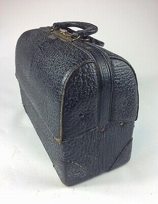 Antique Vintage Schell Emdee cowhide leather medical Doctor bag satchel Old