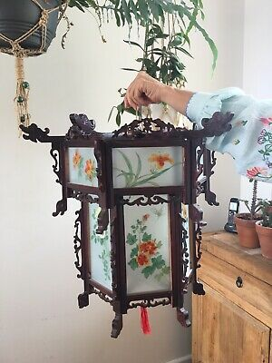Vintage Large Carved Chinese Lantern with Hand Painted Glass Panels