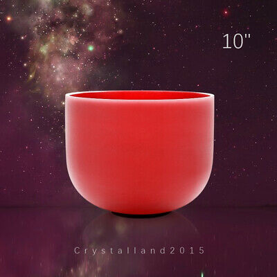 """C Note Root Chakra Colored Frosted Quartz Crystal Singing Bowl 10 """""""