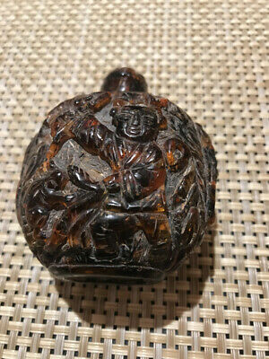 Rare Antique Carved Amber Chinese Opium/Snuff Bottle - 19th Century - WOW!