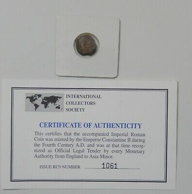 Ancient Roman Coin  Emperor Constantine II  A.D. 337 - A.D. 340 with Certificate