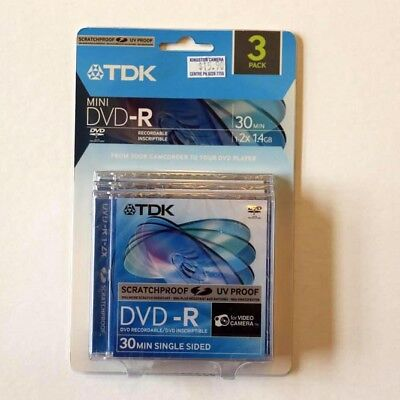 TDK CAMCORDER 8CM MINI DVD-R writeable disk - three-pack
