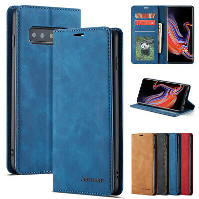 For Samsung Galaxy S10 5G Case Genuine Retro Leather Magnetic Wallet Flip Cover