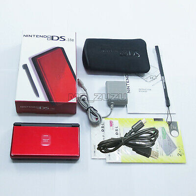 New Crimson Red Black Nintendo DS Lite HandHeld Console System DSL DSi GBA games