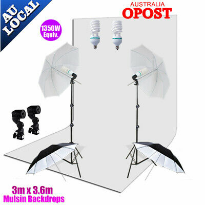 1350W Photography Continuous Umbrella Lighting Stand Kit+3x3.6m Muslin Backdrop