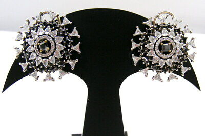 Small Round Antique Finished Cz Colored Stone Carved Routine Wear Stud Earrings