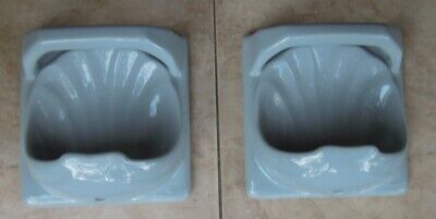 "Vintage 7"" soap dish / holder tiles x 2 - face washer - blue / grey shell"