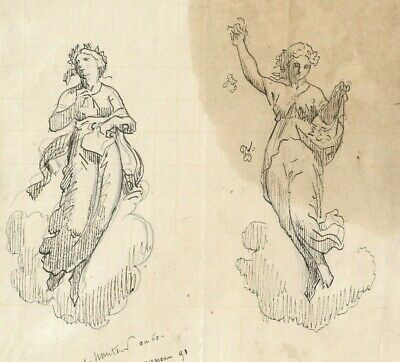 19th Vintage Drawing - Old Masters, Dessin Ancien - Godness, Sculpture, Woman