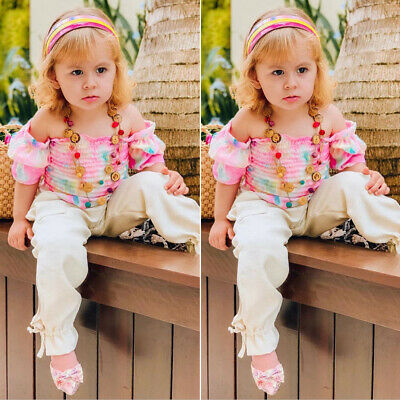 Toddler Kids Baby Girl Clothes Off-Shoulder Vest Flower Tops Long Pants Outfits