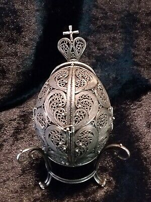 Russian Silver Orthadox Filagree Egg With Enamel Pictures Signed