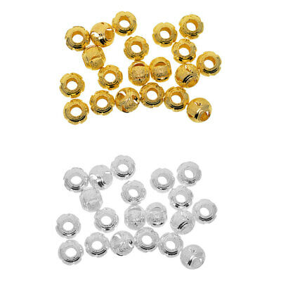 Hole 5mm Large Hole Clear Crystal Rhinestone Slider Spacer Beads lady-muck1
