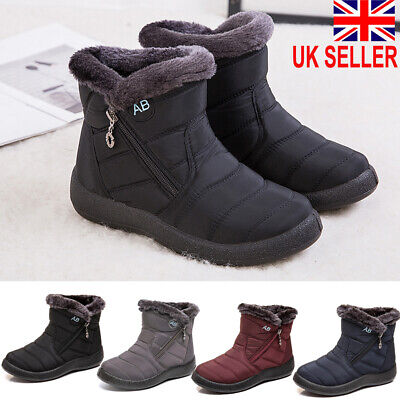 UK Women's Winter Snow Waterproof Boots Ladies Warm Fur Lined Ankle snow boots