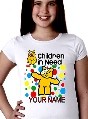 Pudsey Bear Personalised T-Shirt KIDS/GIRLS/BOYS 2019 Children in Need