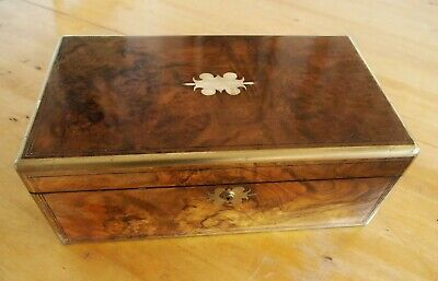 Antique Victorian Burr Walnut Brass Bound Writing Slope Box ~ in need of work