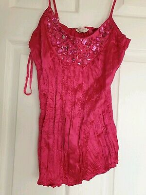 Excellent Condition New Look Generation Girls Pink Strappy Top Age 14 Yrs