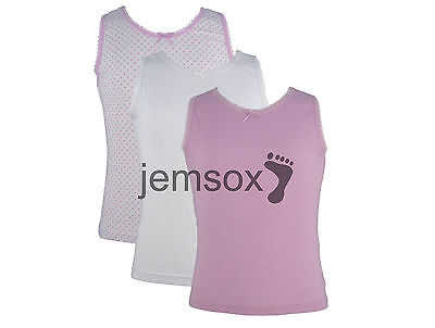 3 x Girls 100% Cotton Vests White/Pink 1.5-2 2-3 3-4 5-6 7-8 Years
