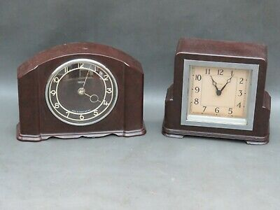 2 vintage brown Bakelite mantle clocks for restoration or parts