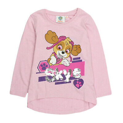 Girls Paw Patrol Long Sleeve T-Shirt Top with Reversible Sequins