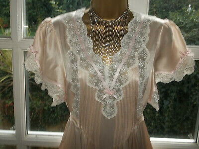 "Vintage Harrods Luxurious 100% Silk Lacy Nightie Nightdress Gown 38"" Tall Girl"