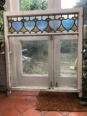 3 Original Edwardian Sash windows with STAINED GLASS