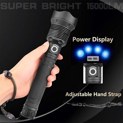 2000LM LED USB Rechargeable XHP70 Zoomable Torch Flashlight Super Bright+2 18650